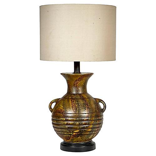 1960s Large Handled Green Ceramic Lamp