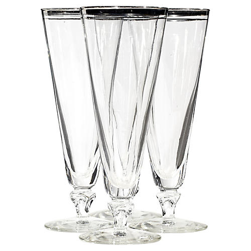 1960s Silver Rim Tall Pilsners, S/4