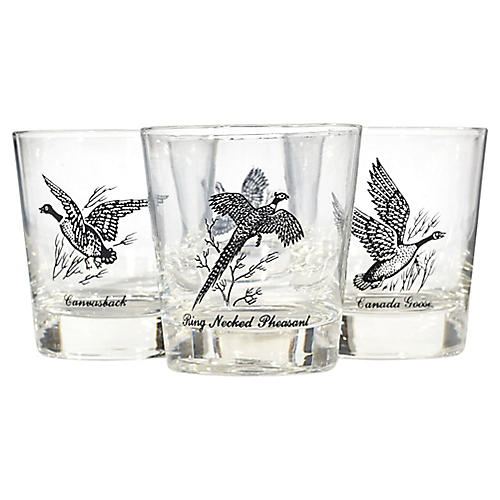 1960s Bird Old Fashioned Tumblers, S/4