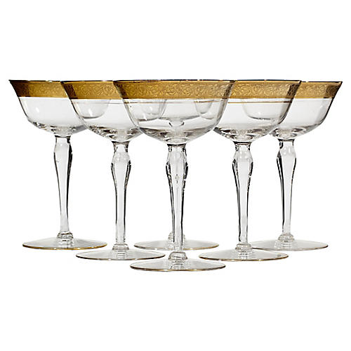 Art Deco Floral Gilt Rim Tall Coupes,S/6