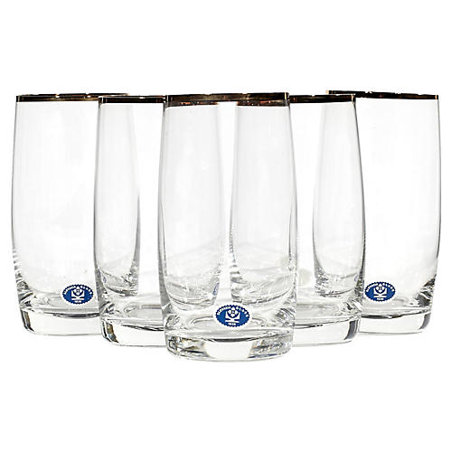 Slovakia Gilt-Rim Glass Tumblers, S/5