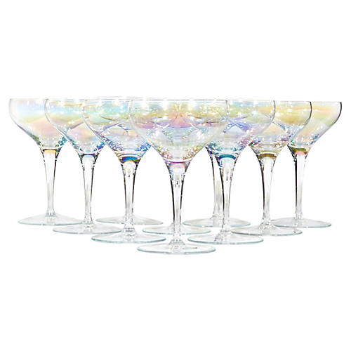 1950s Iridescent Glass Coupes, S/10