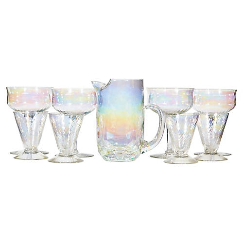 1960s Iridescent Beverage Set, 9 Pcs