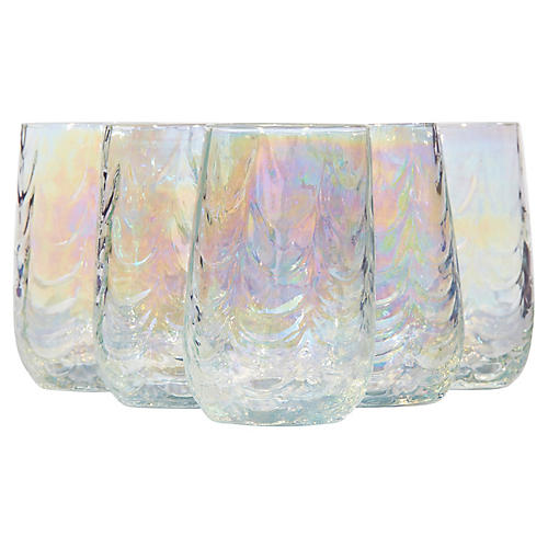 1960s Swag & Iridescent Tumblers, S/6