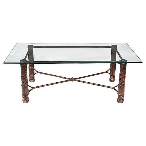 Handmade Iron & Glass Top Coffee Table