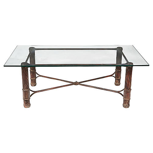 Handmade Iron & Glass Top Coffee Table