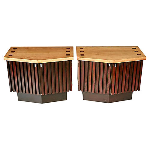 Walnut and Rosewood Nightstands by Lane