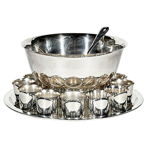 1960s Silver Plate Punch Bowl Set