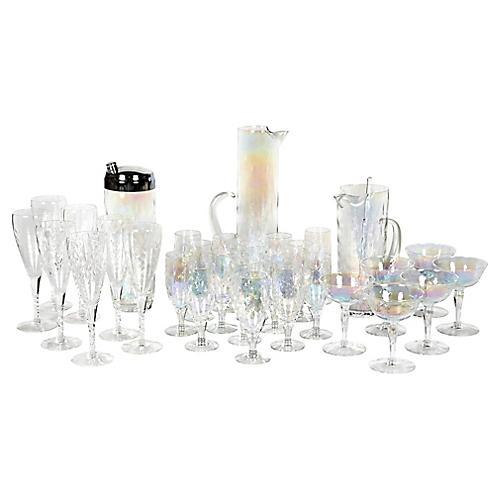 1950s Iridescent Beverage Set, 32 Pcs