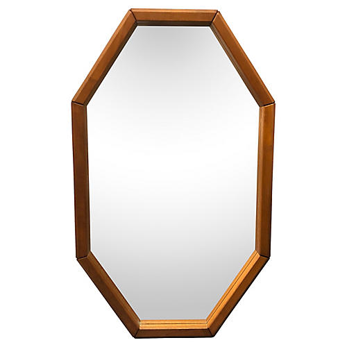 Danish teak 8-Sided Wall Mirror
