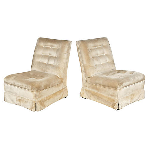 1960s Tufted Slipper Chairs, Pair