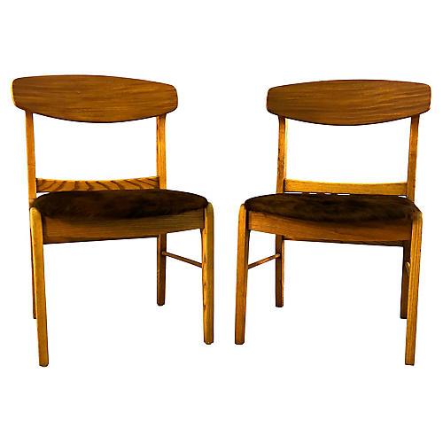 Oak Wood Dining Chairs w/ Cowhide, Pair