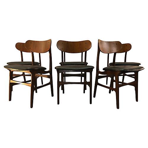 Danish Teak Round Back Dining Chairs,S/6