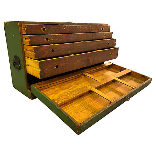 Rustic Green Painted Tool Chest