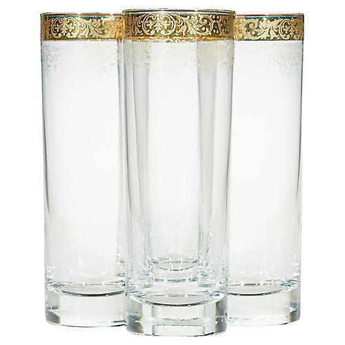 1970s Tall Glass Tumblers, S/4