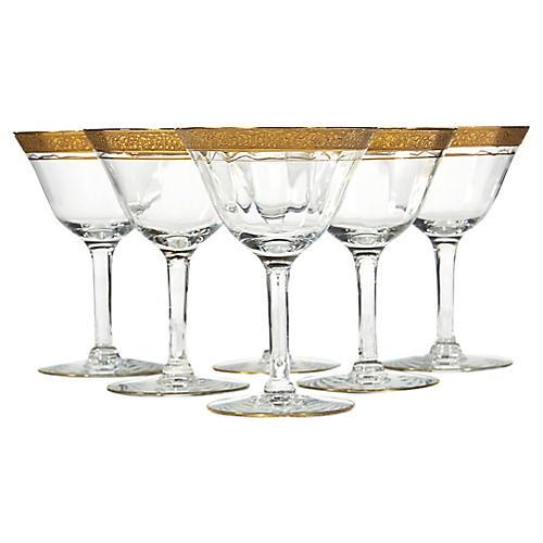 Art Deco Gilt Rim Glass Coupes, S/6