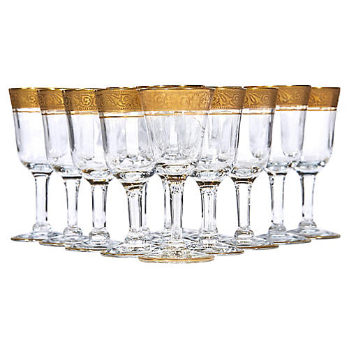 Art Deco Gilt Rim Liquor Stems, S/13