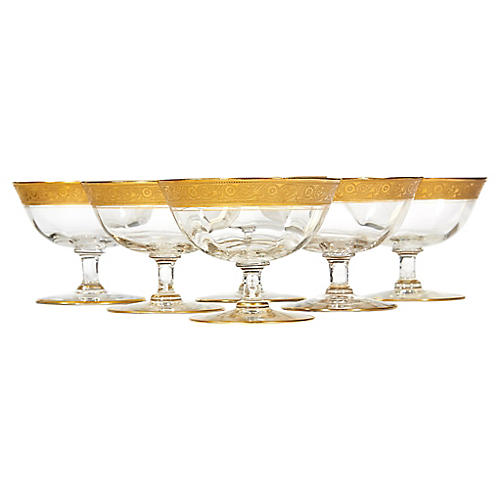 Art Deco Gilt Rim Low Coupes, S/6