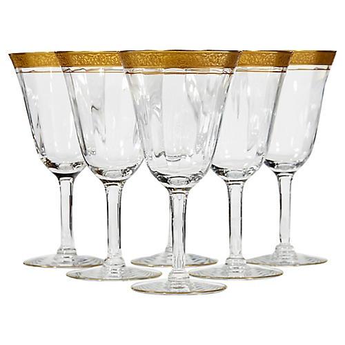 Art Deco Gilt Rim Wine Stems, S/6