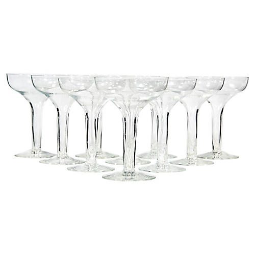 1950s Hollow Stem Glass Coupes, S/10