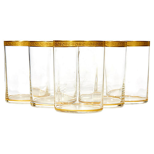 Art Deco Small Gilt Rim Tumblers, S/5