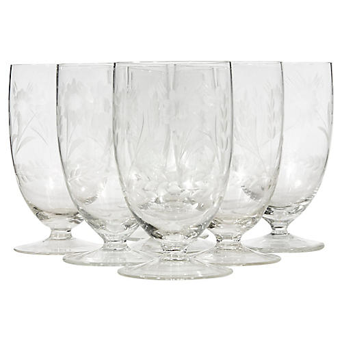1950s Floral Etched Water Tumblers, S/7