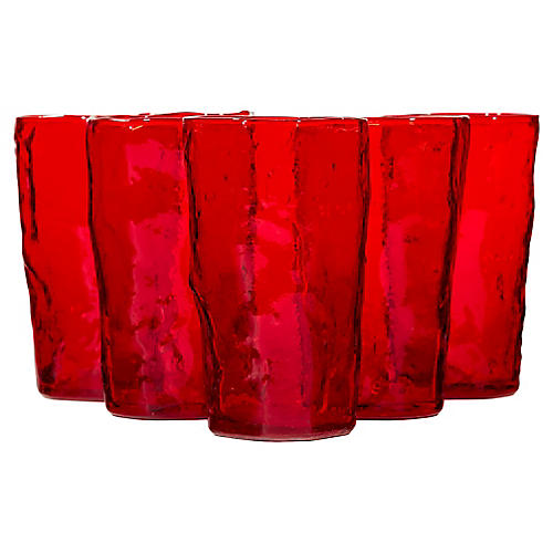 1960s Textured Red Glass Tumblers, S/5