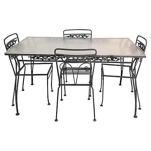 Woodard-Style Wrought Iron Patio Set