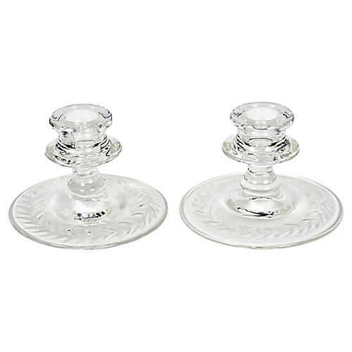 1950s Laurel-Etched Candleholders, Pair