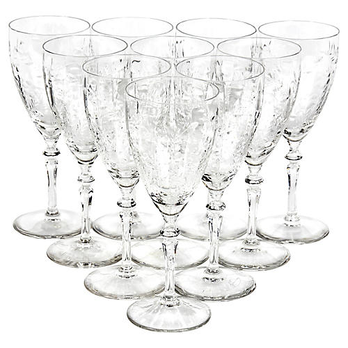 Art Deco Floral-Etched Wine Stems, S/10