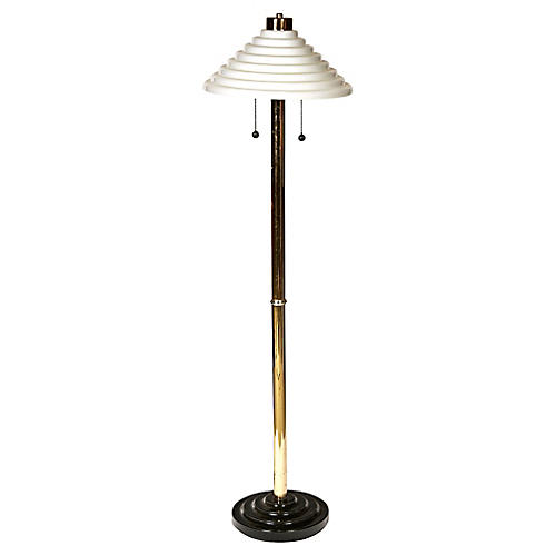 Art Deco Floor Lamp w/ Glass Shade