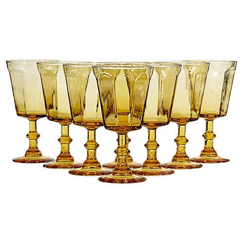 1960s Light Amber Glass Stems, S/8