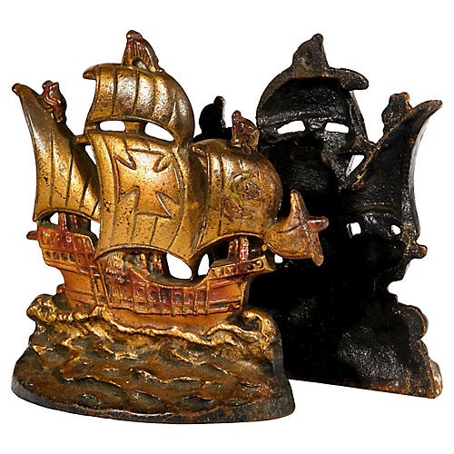 1950s Pirate Ship Bookends, Pair
