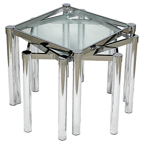 1970s Stacking Chrome & glass Tables,S/3