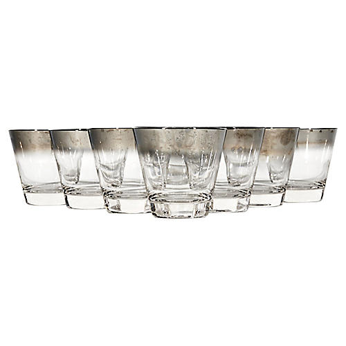 Silver-Fade Old Fashioned Tumblers, S/8