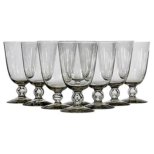 1960s Smoked Glass Water Stems, S/8