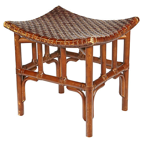 Asian-Style Leather Top Stool