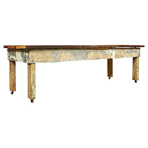 Rustic Wood Plank Top Country Table