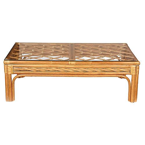 1970s Bamboo & Glass Top Coffee Table