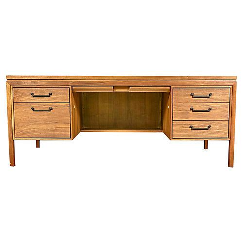 1960s Walnut Wood Executive Desk Vintage2 B Modern