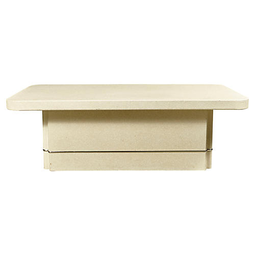 Textured White Rectangular Coffee Table