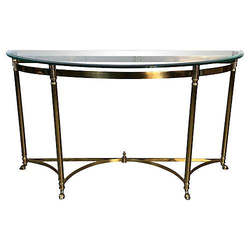 Italian Demilune Brass & Glass Table