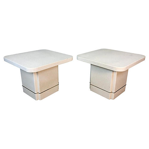1980s Textured Square End Tables, Pair
