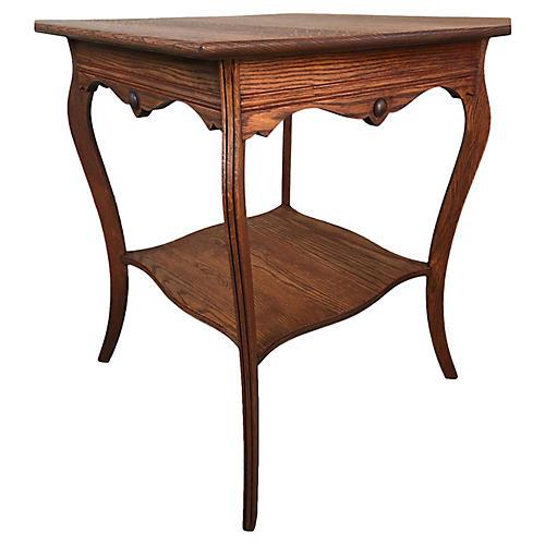 Square Quarter-Sawn Oak Side Table