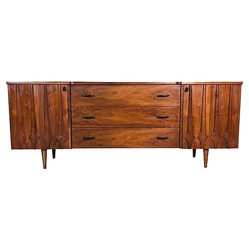 1960s Sculpted Walnut Long Dresser