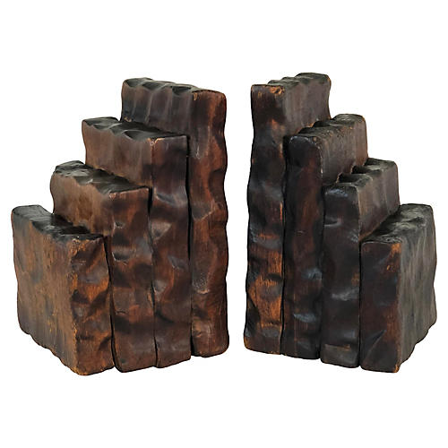 Rustic Wood Bookends, Pair