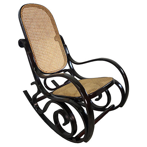 Thonet Style Wood & Caned Rocking Chair