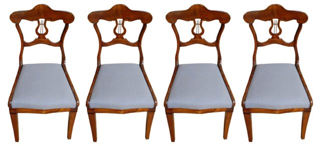 19th-C. Swedish Elm Side Chairs, S/4
