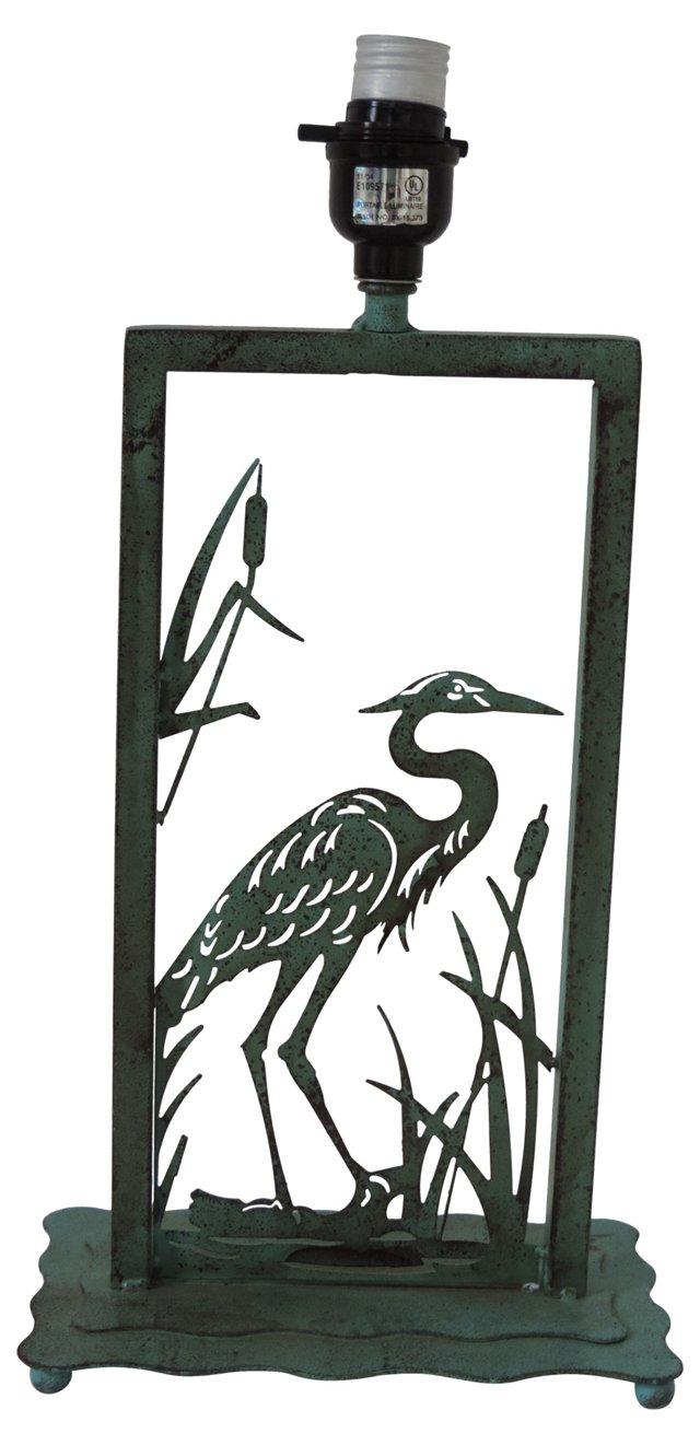 Verdigris Heron Lamp
