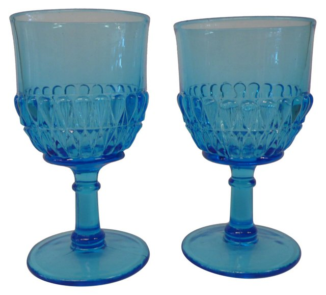 Ocean Blue Goblets, Pair